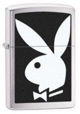 Brushed Chrome Playboy Zippo Lighter